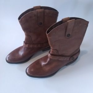 Loft Brown leather Moto ankle boots 7